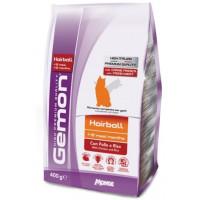 Gemon Cat Hairball корм для выведение шерсти для взрослых кошек с курицей и рисом 400г