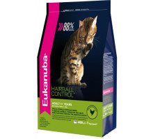 EUK Cat HAIRBALL корм для вывода шерсти из желудка с домашней птицей для кошек 400 г