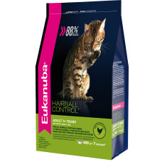 EUK Cat HAIRBALL корм для вывода шерсти из желудка с домашней птицей для кошек 400 г