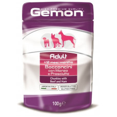 Gemon Dog Pouch паучи для собак кусочки говядины с ветчиной 100г