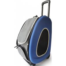 Ibiyaya складная сумка-тележка 3 в 1 для собак до 8 кг (сумка, рюкзак, тележка) синяя