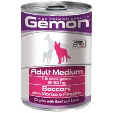 Gemon Dog Medium консервы для собак средних пород кусочки говядины с печенью 415г