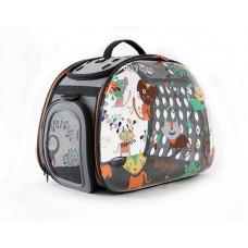 Ibiyaya складная сумка-переноска для собак и кошек до 6 кг прозрачная дизайн Cats&Dogs
