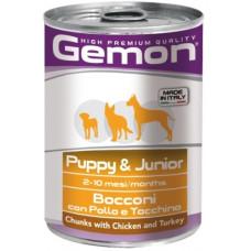 Gemon Dog консервы для щенков кусочки курицы с индейкой 415г