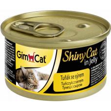 GimCat ShinyCat консервы для кошек из тунца с сыром 70 г