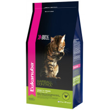 EUK Cat HAIRBALL корм для вывода шерсти из желудка с домашней птицей для кошек 2 кг